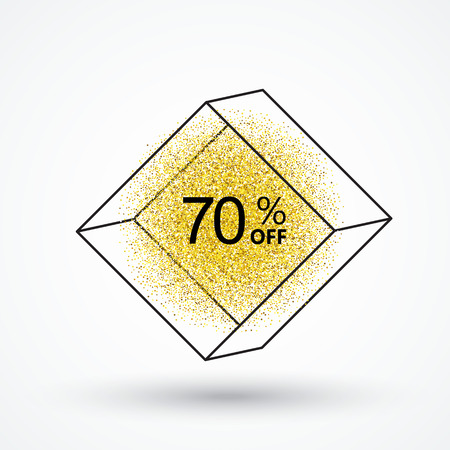 ploy: Gold glitter particles.White background with frame sales, and discounts of 70 percent.Background for store,web,poster,price tag.Marketing ploy