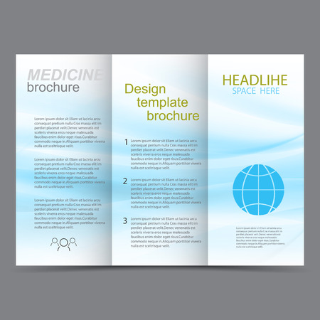 buisness: Medicine template design brochure Blue abstract waves on a white background Illustration