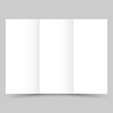 blank white tri fold paper brochure with shadow vector illustration