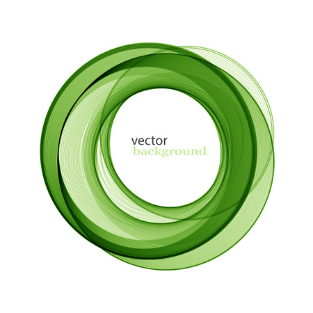 green swirl: Abstract transparent green swirl circle. Round frame or banner with place for your content