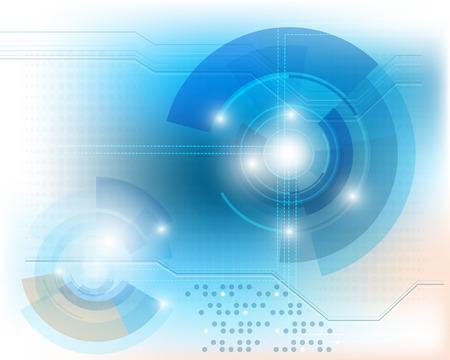 Blauwe technologieachtergrond met glanzende abstracte voorwerpen Vectoreps10