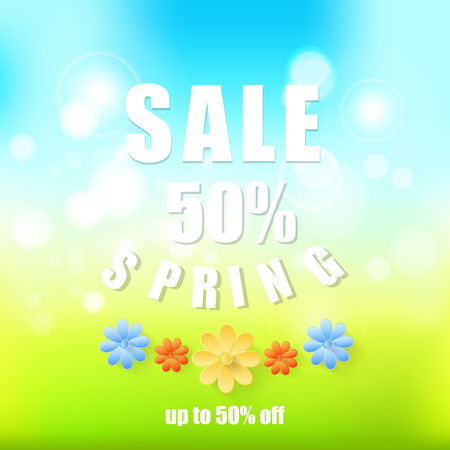 Spring sale background Abstract spring background with paper flowers.Spring 50 discount. Illustration
