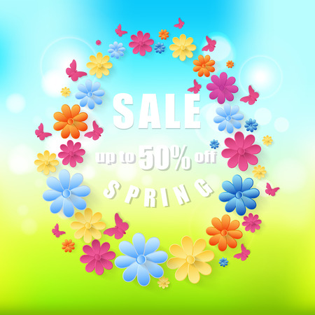 Spring sale background Abstract spring background with paper flowers and butterflies. Illustration