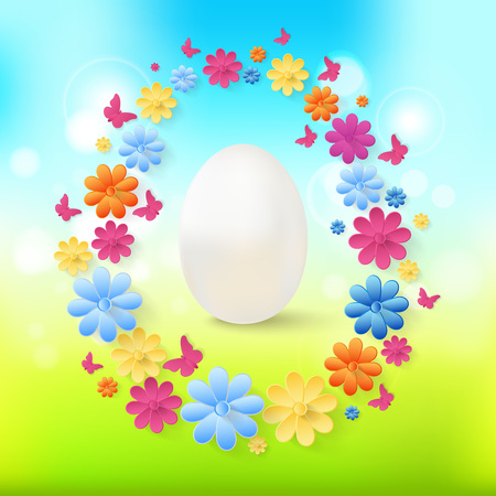 Spring Easter background with white eggs and flowers in the form of a frame. Illustration