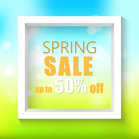Spring sale background. Vector white frame on a bright blue-green spring background.