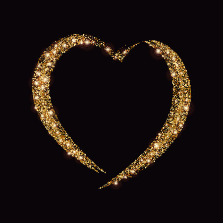 date night: Happy Valentines Day Card with Gold Glittering Star Dust Heart, Golden Sparkles on Black Background