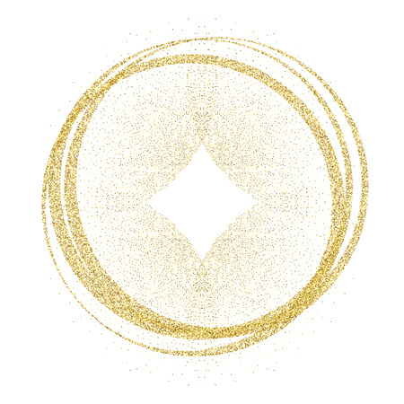 golden circles and rings. Decoration design element of gold foil gilding texture. Festive background for New Year and Christmas cards ornaments.