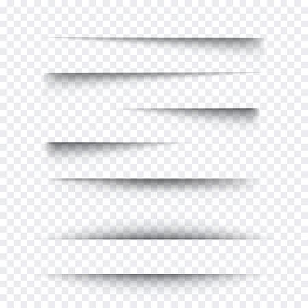 Conjunto de efectos de sombra de papel realista transparente. Bandera del Web.
