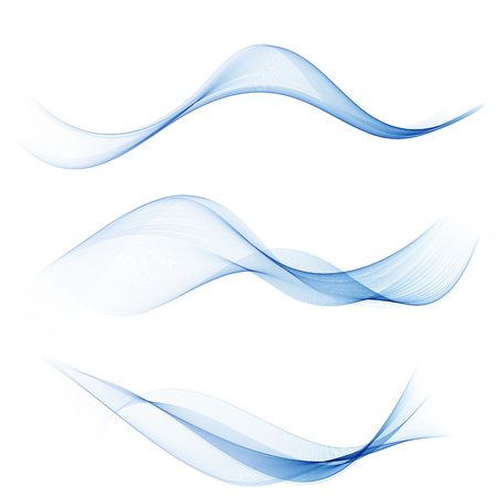 set abstract color wave smoke transparent smooth vector blue lines