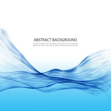 Abstrakter Wellenhintergrund. Transparente blaue Linien in einer Wellenform