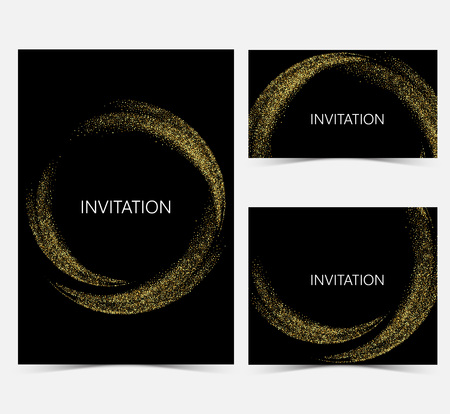Template design invitations,greeting cards,greetings.Gold smooth wave in the form of a circle,gold glitters on a black background. 矢量图像