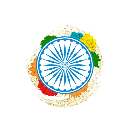 illustration of Ashok Chakra in Indian tricolor background