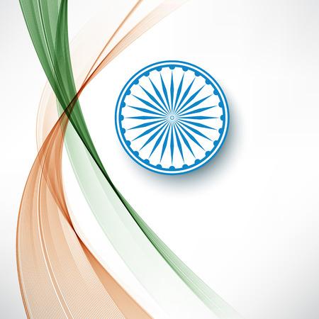 Indian flag color creative wave background with Asoka wheel Illustration