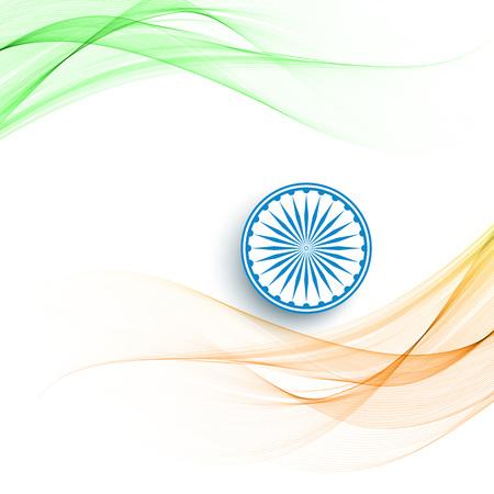 Beautiful wave style Indian flag theme background. vector illustration Illustration