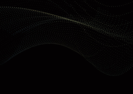 Landscape black technology background consisting of colored dots forming a smooth,abstract, wave.