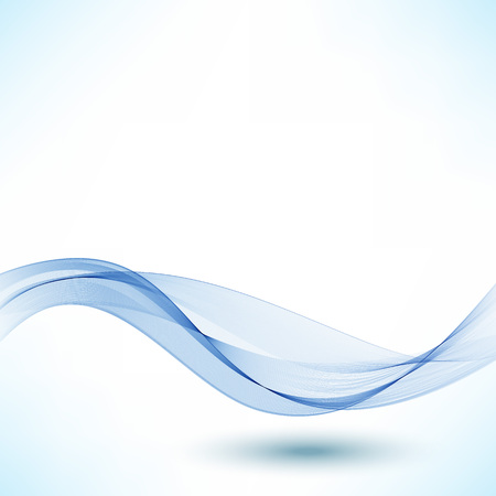 Blue wave.Abstract white background with blue wavy curved lines.Vector design element