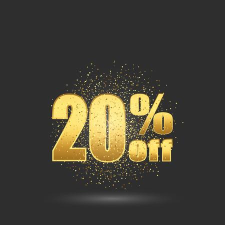 Gold sale 20 percent. Golden sale 20 percent on gold background