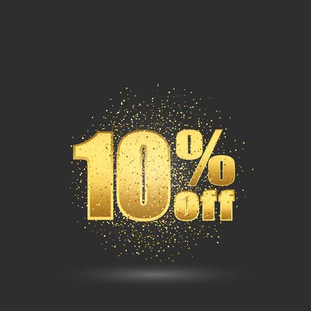 Gold glitter text.Ten percent off.Sale gold banner.
