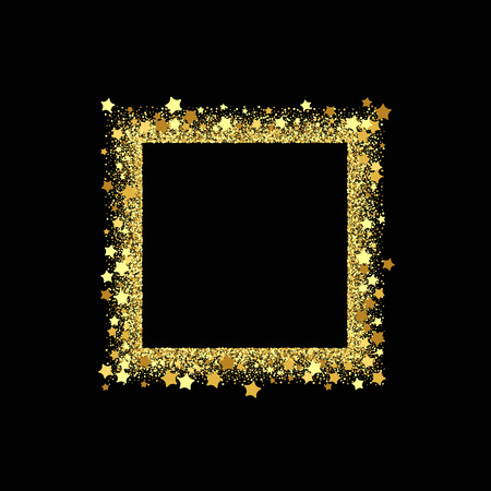 Vector square frame. Shining banner. Isolated on black transparent background