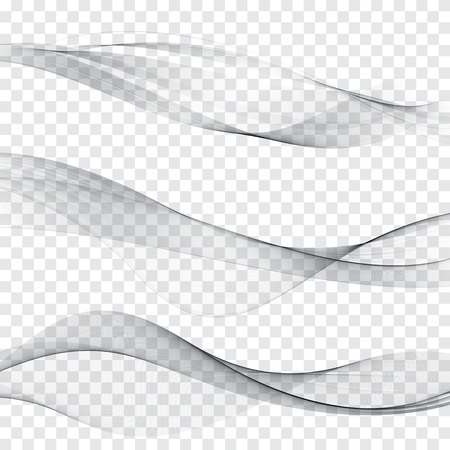 Grey soft line web header collection abstract soft wave layout set. Vector illustration Illustration