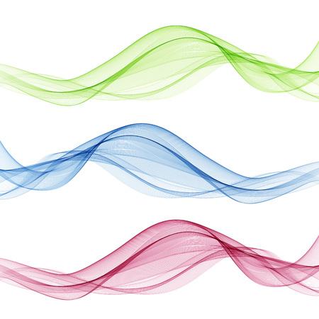 Conjunto de onda de color abstracto. Onda de humo de color. Onda de color transparente. Color azul, rosa, verde. Diseño ondulado.