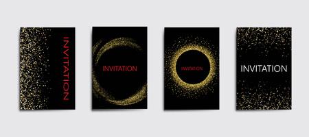Set of backgrounds with golden lights to design greeting cardsInvitation set template.
