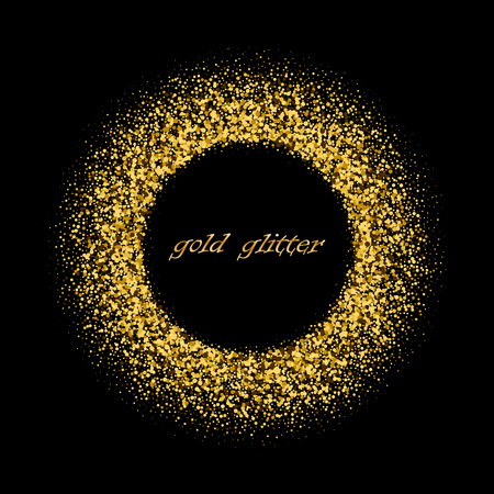 Gold background with circle frame Vector glitter decoration, golden dust. Great for valentine, christmas and birthday cards, wedding invitation, party posters