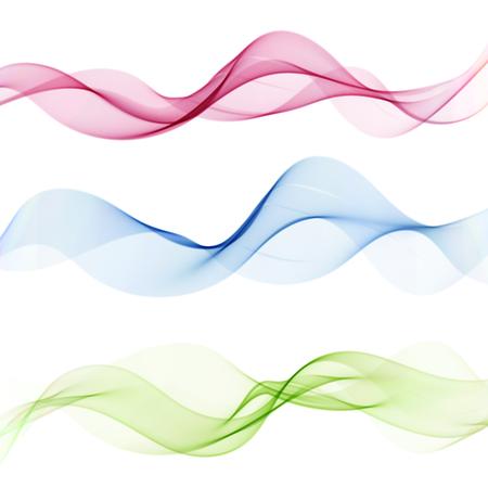 Elemento di disegno astratto dell'onda Onde colorate trasparenti Il movimento della trama dell'onda. Vettoriali