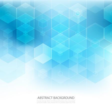 Abstracte geometrische achtergrond. Sjabloonbrochureontwerp. Blauwe zeshoekige vorm