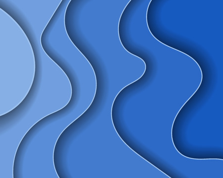 Abstract blue sea , paper waves and seacoast for banner, invitation, poster or web site design. Paper cut style.
