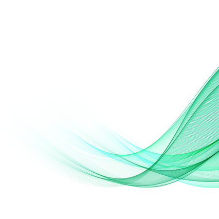 Abstract green wavy lines. Colorful vector background. Smoke green wave