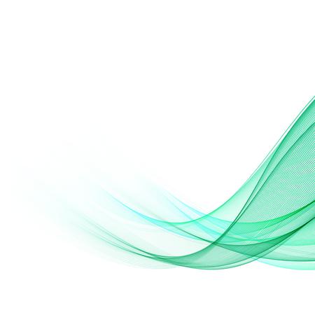 Linee ondulate verdi astratte. Sfondo vettoriale colorato. Onda verde fumo