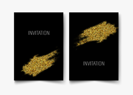 Invitation template with gold glitter confetti background. Festive greeting cards design for event Vector eps10