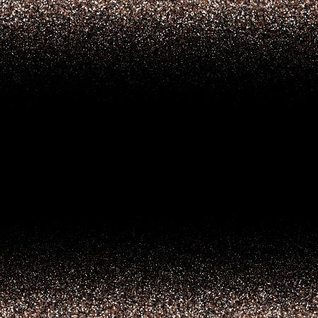 Black background. Falling snowflakes imitation. Bright silver bokeh texture. Digitally generated image. Vector illustration Çizim