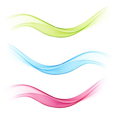 Satz transparente abstrakte Wellen blau, grün und rosa. Vektorwelle abstrakter Hintergrund Vektorgrafik