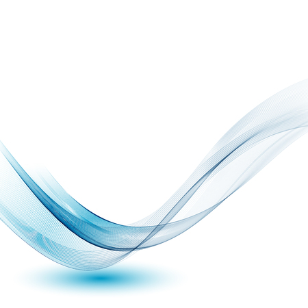 Abstract smooth color wave vector. Curve flow blue motion illustration. Smoke design.