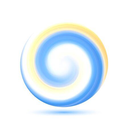 Círculo de remolino colorido transparente abstracto. Marco redondo o banner con lugar para su contenido.Ilustración de vector con malla de degradado.
