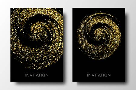 Golden glitter circle background. Tinsel shiny backdrop. Luxury gold template.