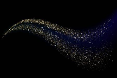 Element projektu streszczenie błyszczący kolor złota fala z efektem brokatu na ciemnym tle. Ilustracje wektorowe