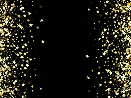 Salute of gold stars on a black background Gold glitters 矢量图像