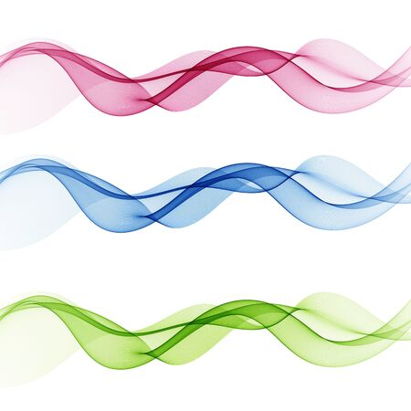 Abstract motion smooth color wave vector. Set of Curve colorful lines