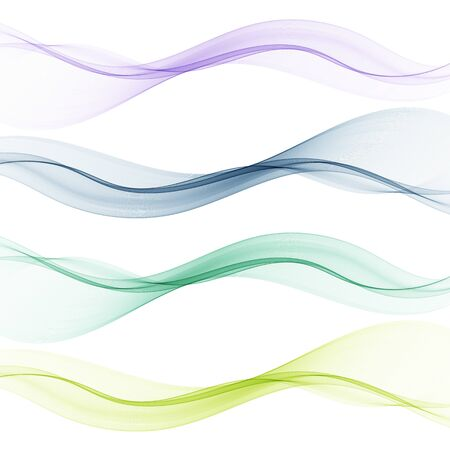 Set of abstract color wave smoke transparent blue pink green wavy design purple Ilustrace