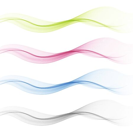 set of abstract color wave smoke transparent blue pink green wavy design purple