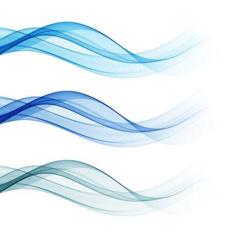 Set di onde blu astratte, illustrazione vettoriale Eps 10 Vettoriali