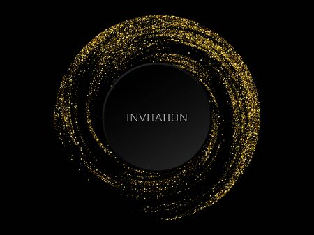 Abstract shiny color gold wave design element on dark background. Science or technology design 向量圖像