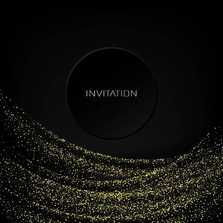 Vector gold glitter confetti wave on black background