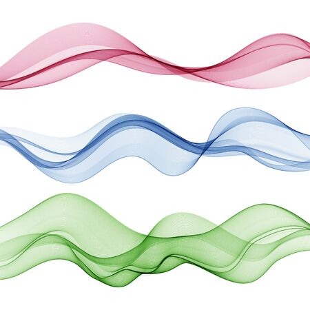 Set of abstract color wave smoke transparent wavy design