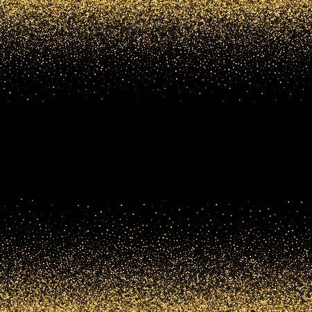 Funkelnde Glitzergrenze, Rahmen. Vektorgolddekoration. Für Hochzeitseinladungen, Partyposter, Weihnachts-, Neujahrs- und Geburtstagskarten.