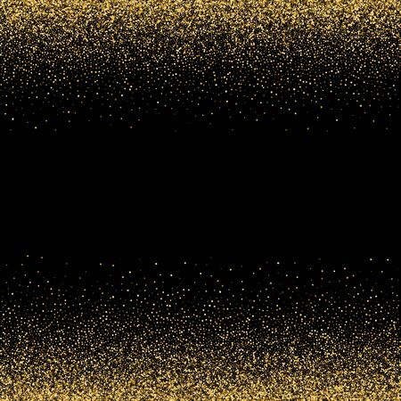 Sparkling glitter border, frame. Vector gold decoration. For wedding invitations, party posters, Christmas, New Year and birthday cards.