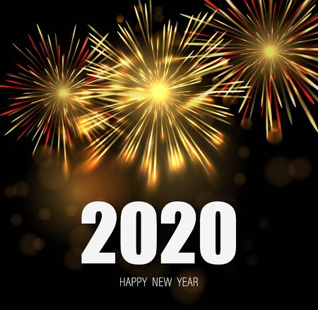 Happy new year greeting card with 2020 white numbers and fireworks series.